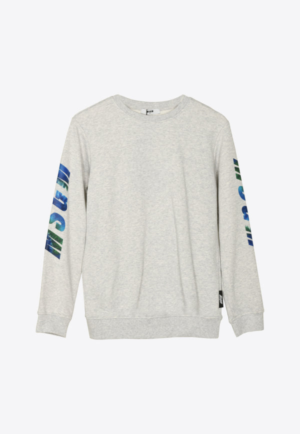 Boys Holographic Logo Cotton Sweatshirt