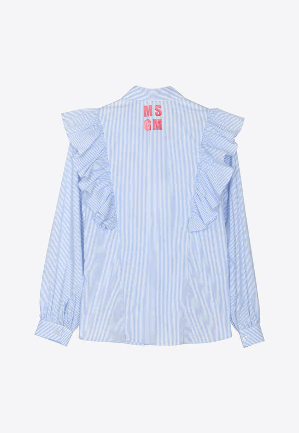Girls Popeline Ruffled Shirt