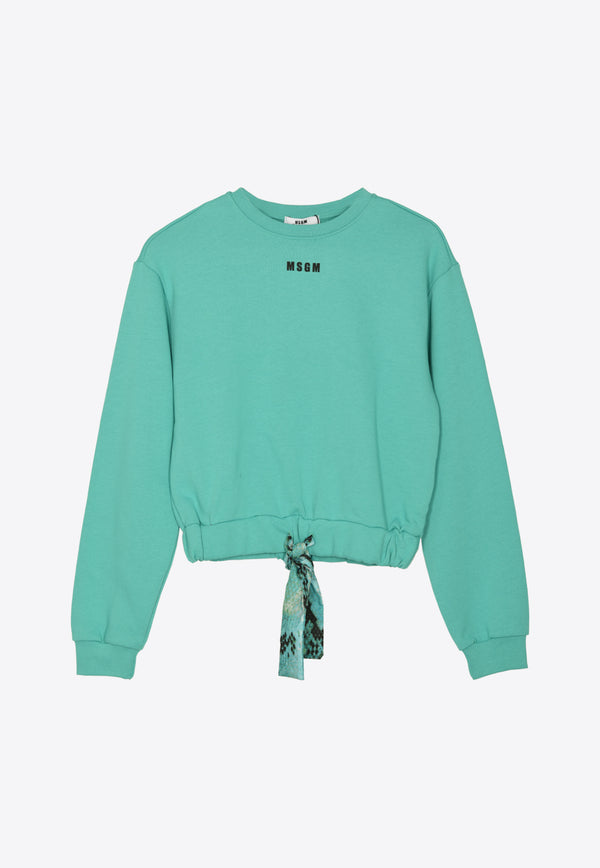 Girls Jersey Cotton Sweatshirt with Bow Detail