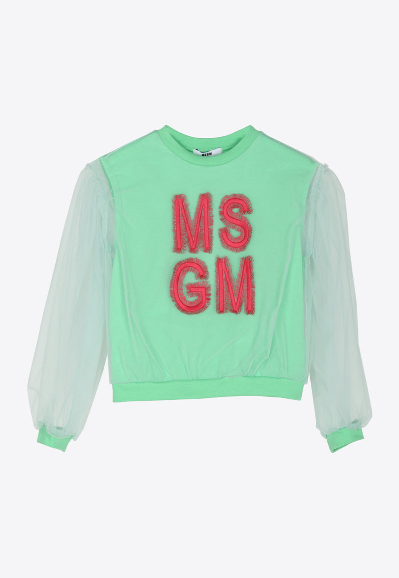Girls Jersey Tulle Logo Cotton Sweatshirt