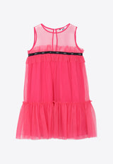 Girls Tulle-layered Cotton Dress