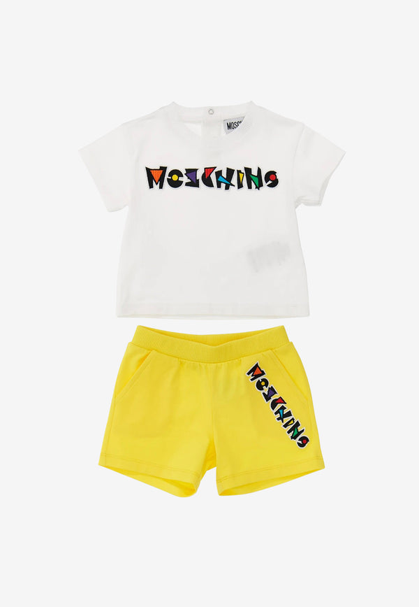 Moschino Kids Baby Logo Detail T-shirt and Shorts Set White MUG00E-LBA1WHITE MULTI
