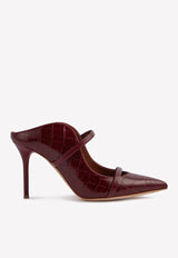 Maureen 85 Mules in Croc-Embossed Leather