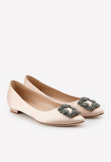 Hangisi Satin Ballet Flats with FMC Crystal-Embellished Buckle