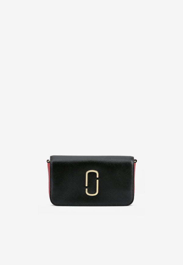 The Snapshot Chain Clutch in Saffiano Leather
