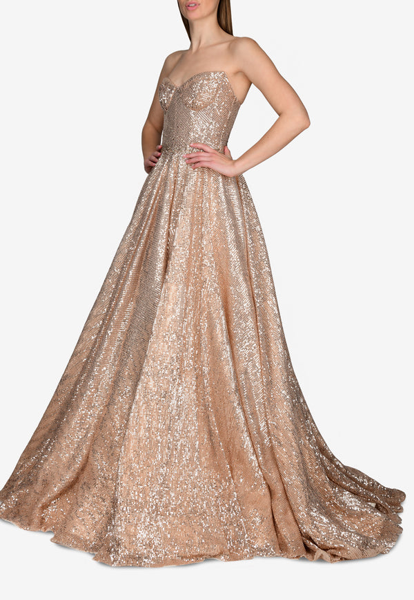 Sequined-Mesh Strapless Ball Gown