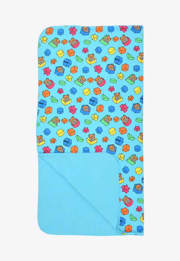 Moschino Blue Baby Moschino Teddy Bear Print Blanket MUX03K-LBB5BLUE