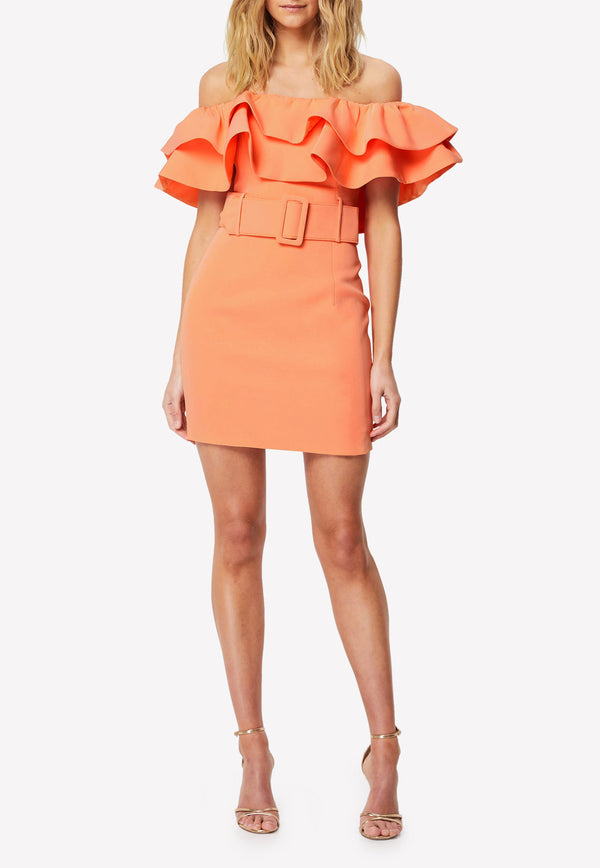 The Luminous Off-Shoulder Belted Mini Dress