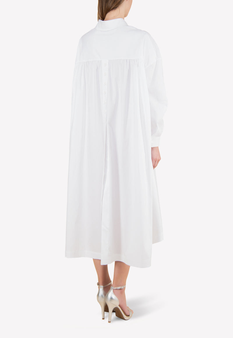 Cotton Midi Shirt Dress in Oversized Fit