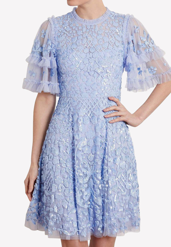 Aurelia Sequined Short Sleeve Tulle Mini Dress