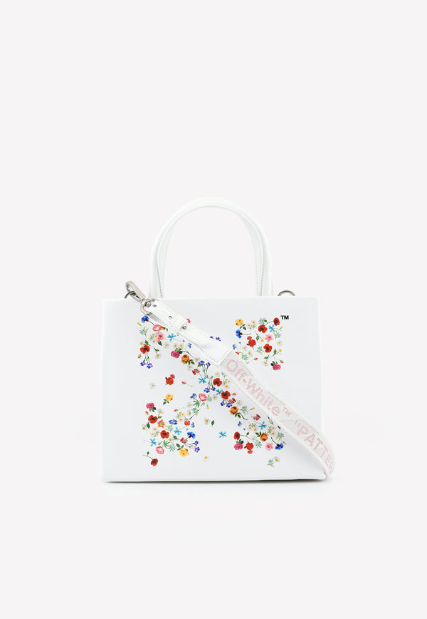 Arrow Floral Print Top Handle Bag in Leather