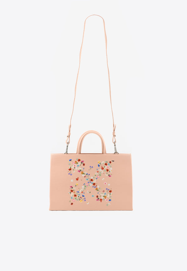 Medium Arrow Floral Print Tote Bag in Leather