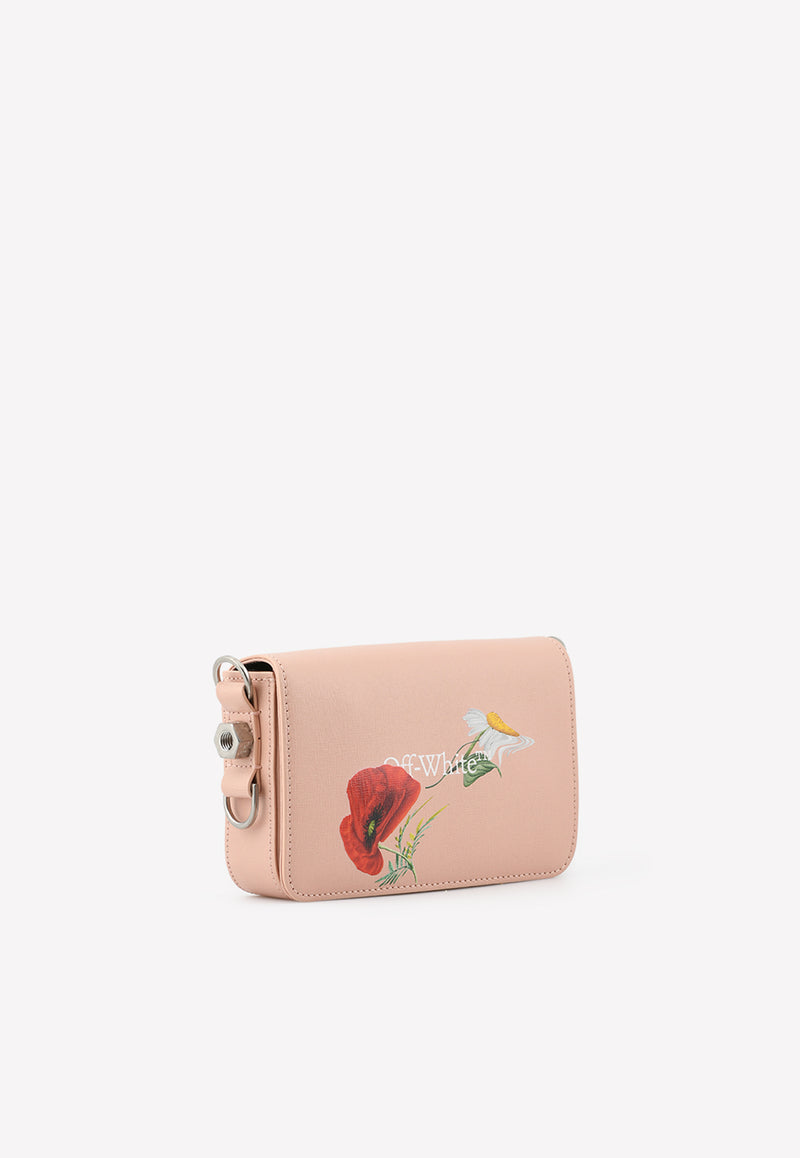 Mini Floral Print Flap Crossbody Bag in Leather
