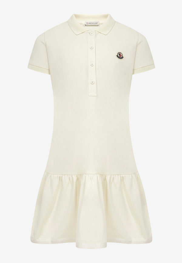 Moncler Kids Girls Collar Dress with Embroidered Logo 954- 8I700 - 10 - 8496FCREAM