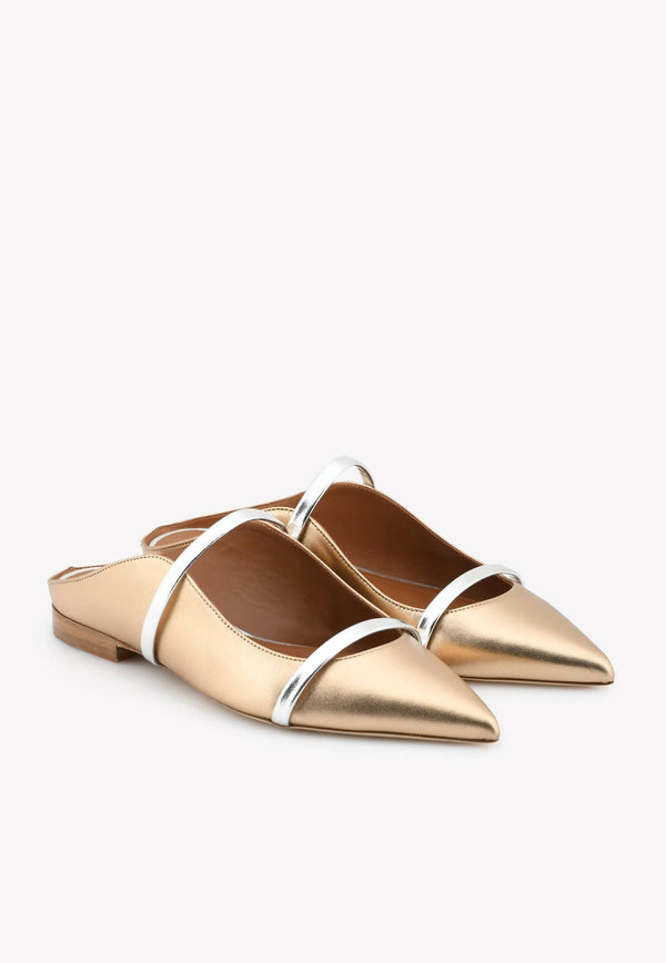 Maureen Flat Mules in Metallic Nappa Leather-H