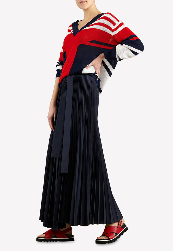 Pleated Plissé Maxi Skirt