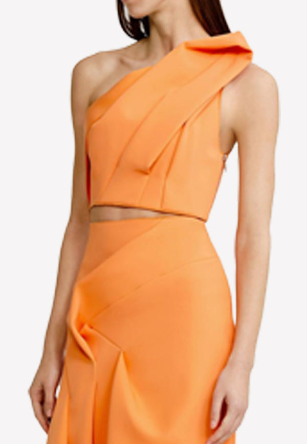 Papaya Redwood Cropped One-Shoulder Top