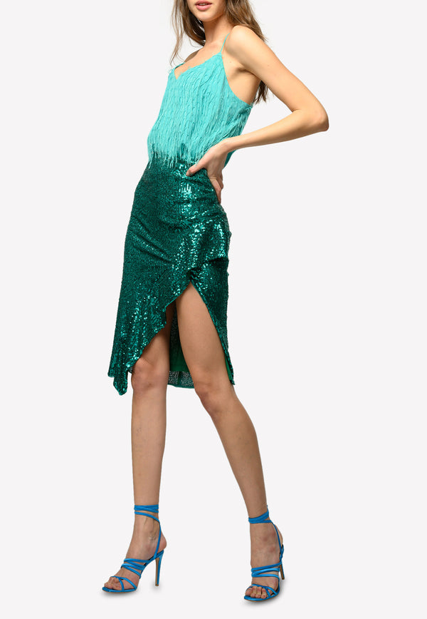 Pinko Green Speciale Asymmetric Sequined Mid Calf Skirt 1G15V58444GREEN