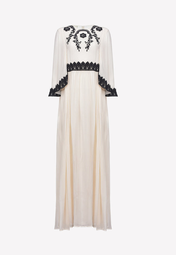 Floral Embroidered Georgette Maxi Dress