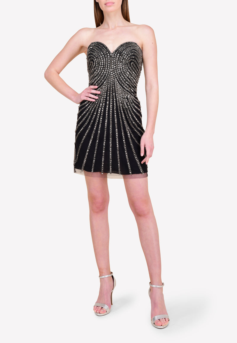 All-Over Beaded Strapless Cocktail Dress