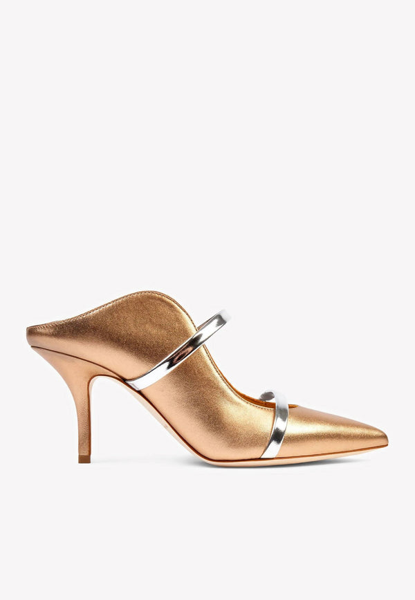 Maureen 70 Mules in Metallic Nappa Leather-E