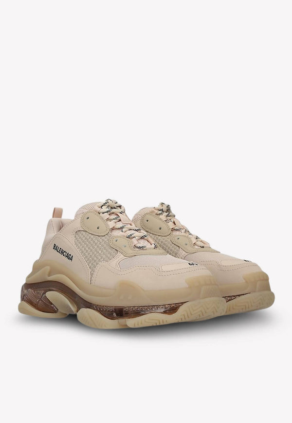 Triple S Clear Sole Sneakers in Mesh and Nylon