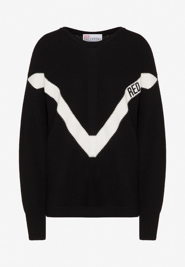 V-Logo Embroidered Wool Sweater