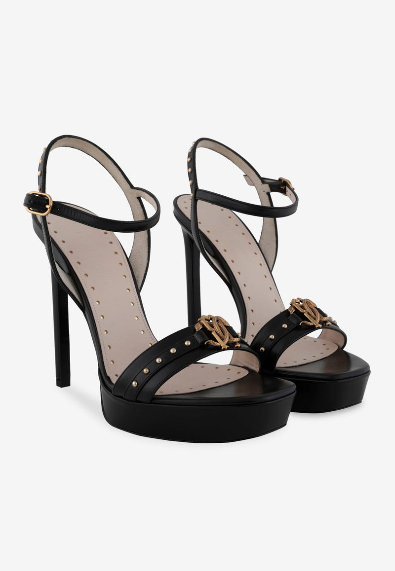 Leather Platform Sandals with Stud Detail - 130 mm