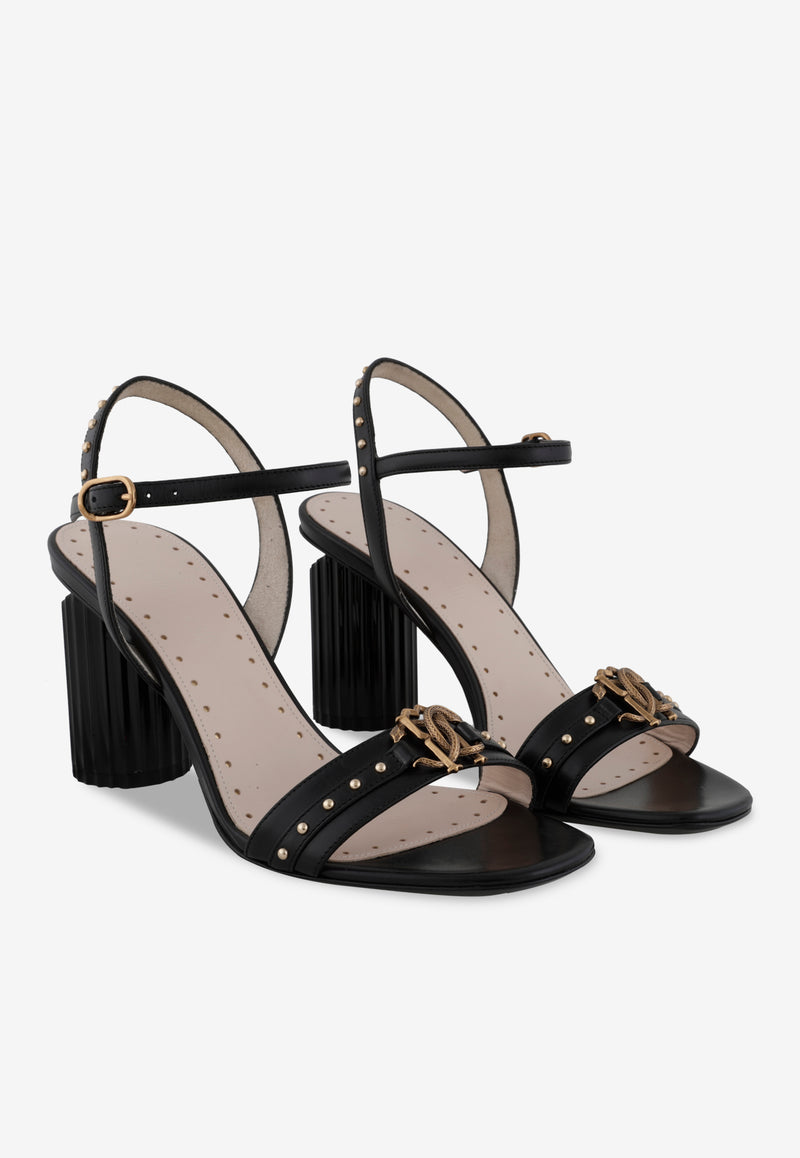 Leather Stud Detail Sandals with Sculpted Block Heel - 85 mm