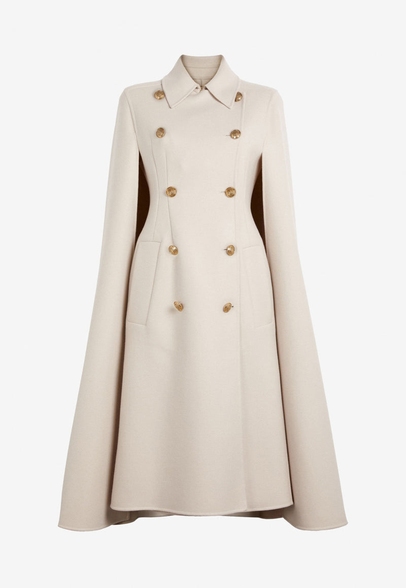 Military Cape Trench Coat in Wool Blend