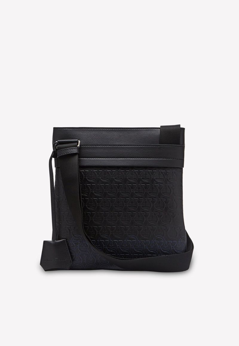 Travel Embossed Shoulder Bag in Calfskin and Fabric