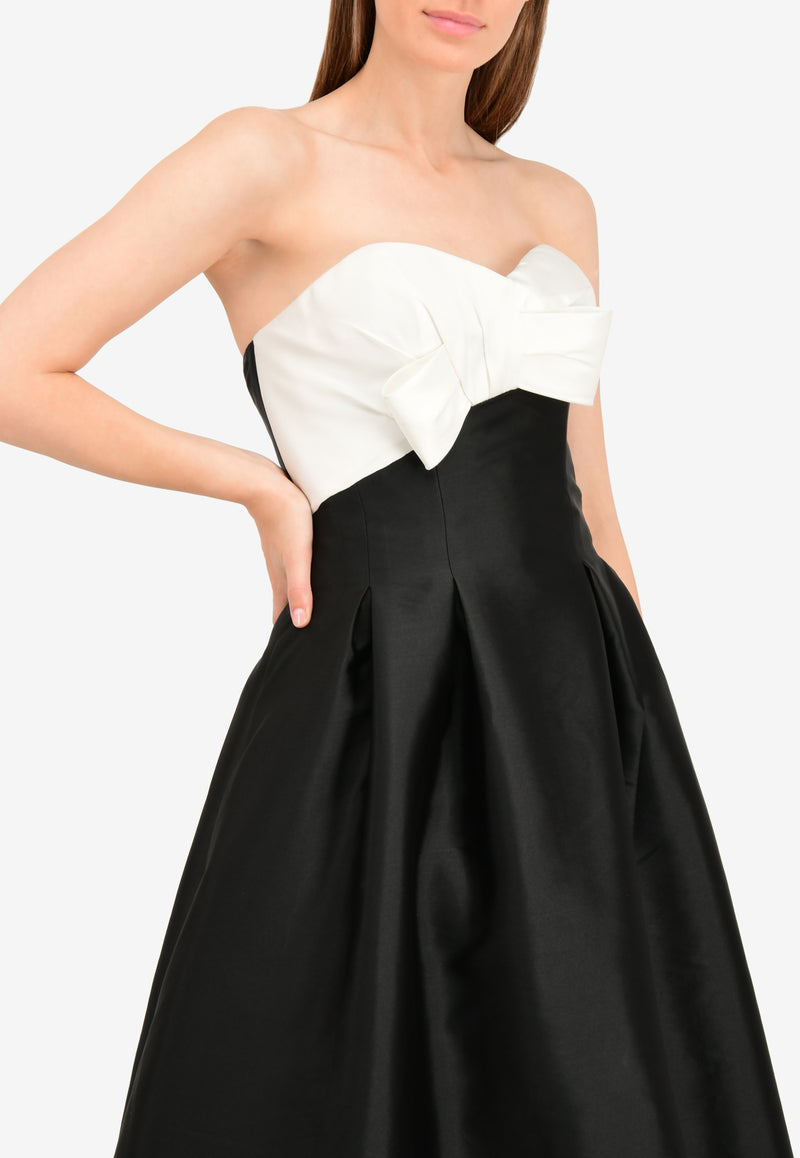 Silk-Blend Strapless Gown with Front Bow