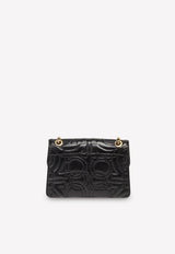 Large Quilted Gancini Shoulder Bag in Calfskin