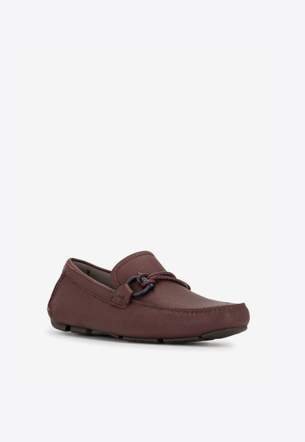 Gancini Leather Driving Loafers with Braided Lace