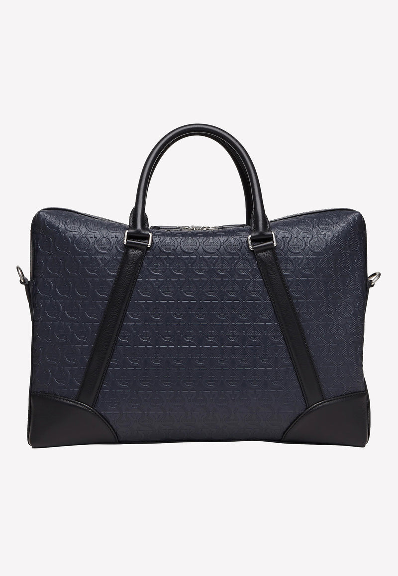Embossed Gancini Monogram Briefcase in Calfskin