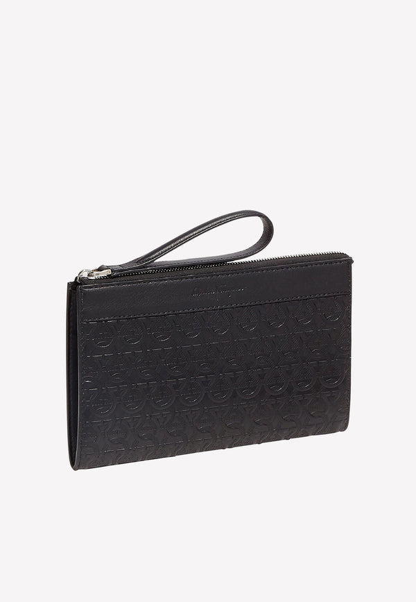 Gancini Document Holder in Embossed Calfskin