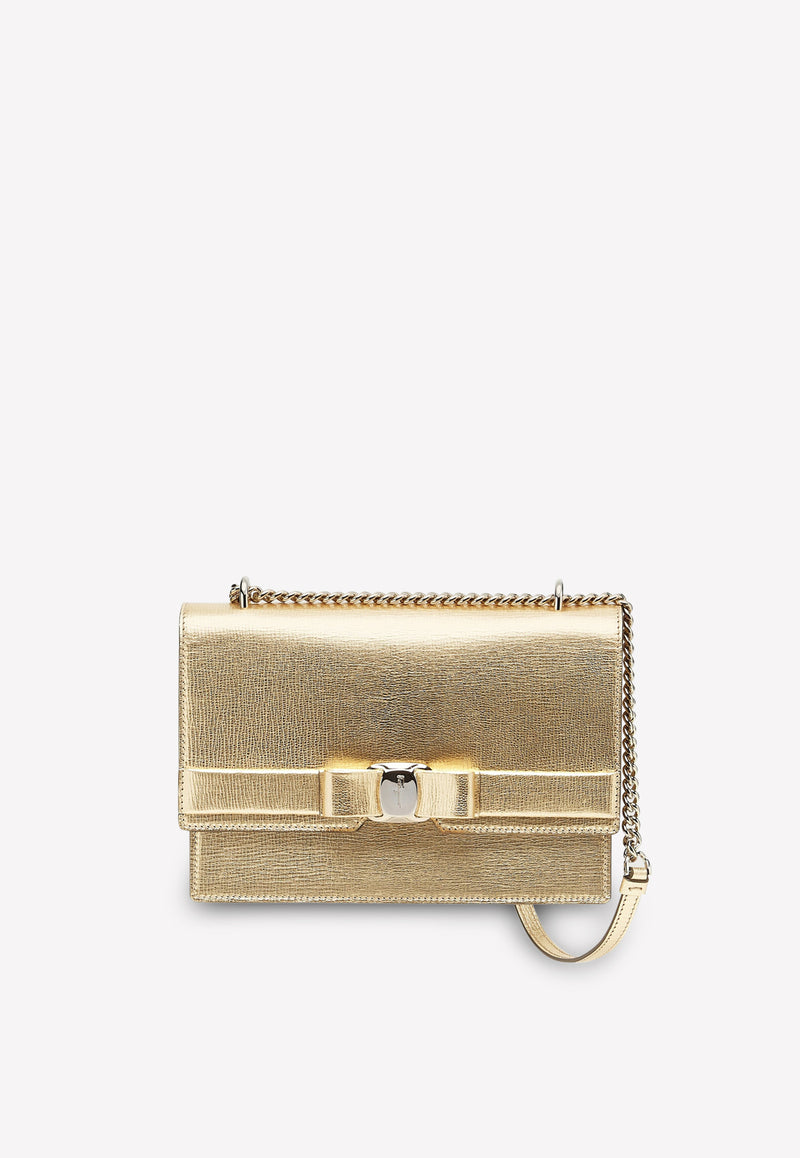 Medium Vara Bow Shoulder Bag in Metallic Kid leather