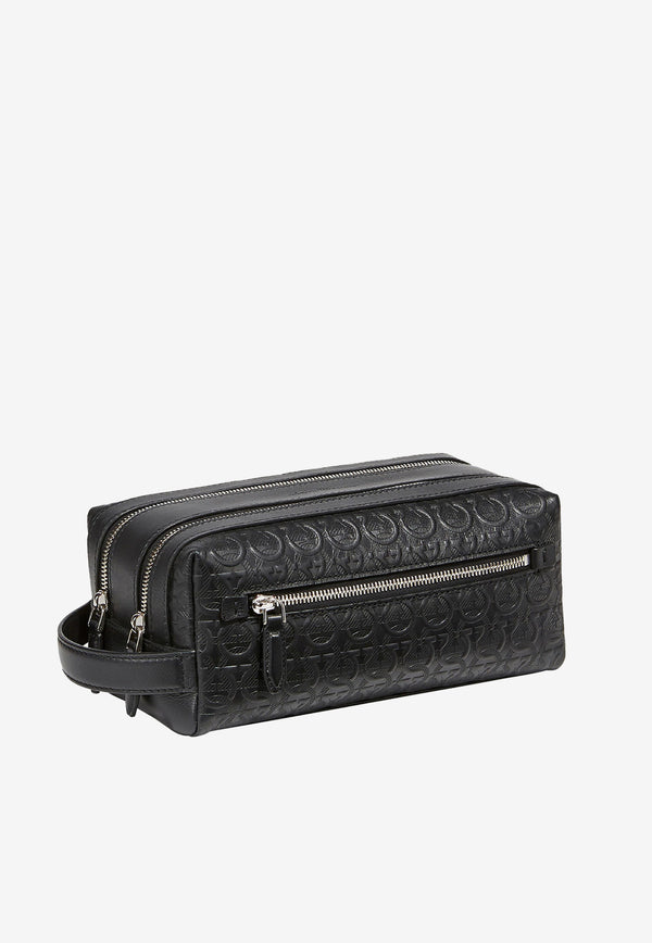 Gancini Toiletry Case in Hammered Calfskin