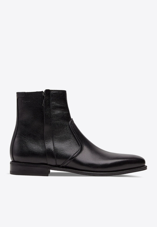 Spider Ankle Boots in Grained Calfskin