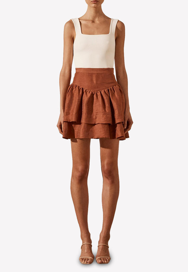 Elsa Frill Linen Mini Skirt