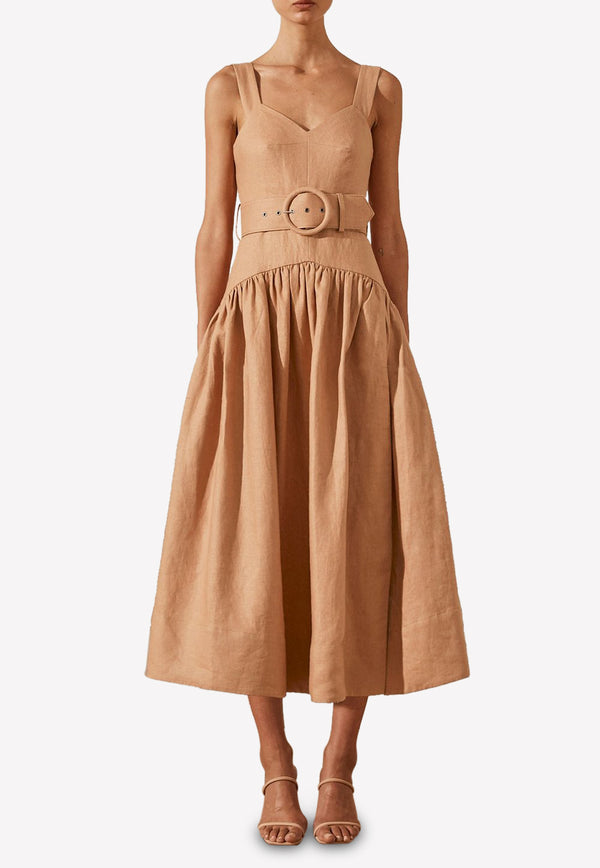 Rosa Linen Pleated Midi Dress with Belt
