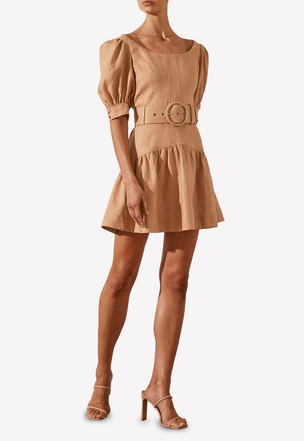 Rosa Linen Puff Sleeves Mini Dress with Belt