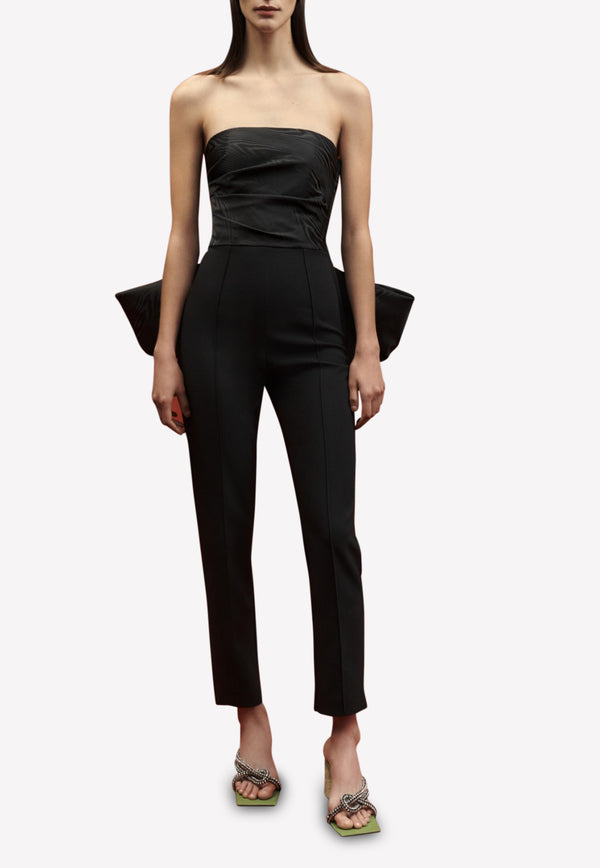 Willa Slim Fit Strapless Jumpsuit in Moire Jacquard Crepe