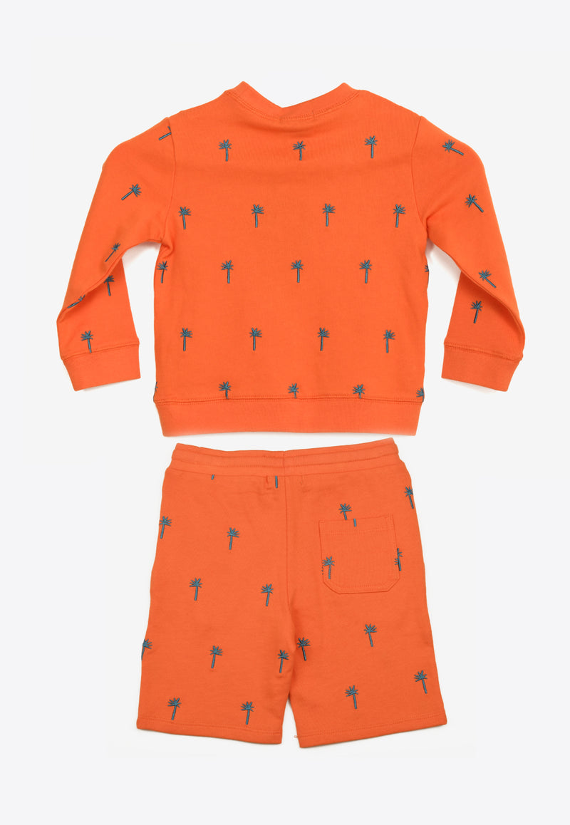 Girls Palms Embroidered Cotton Tracksuit Set