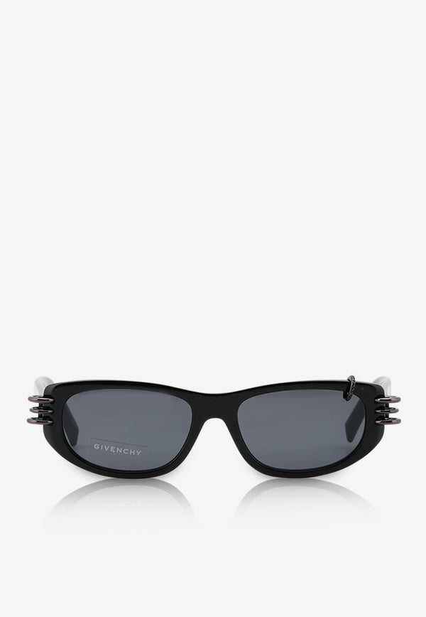 Givenchy Micro Crystals Rectangle Sunglasses 716736328607BLACK 1