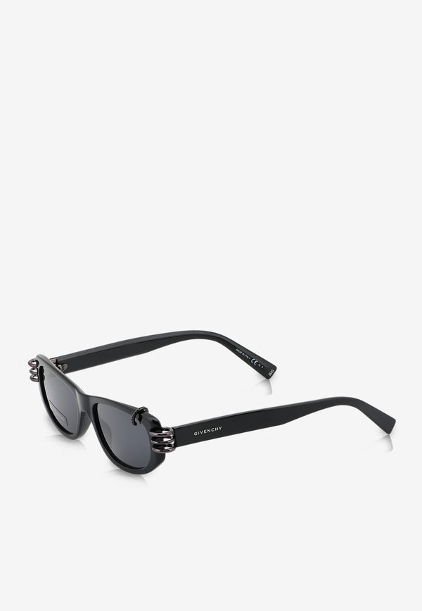 Givenchy Micro Crystals Rectangle Sunglasses 716736328607BLACK 2