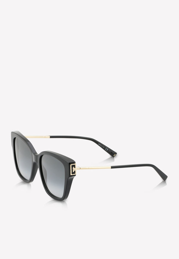 Givenchy Logo Temple Square Sunglasses 716736390437BLACK 2