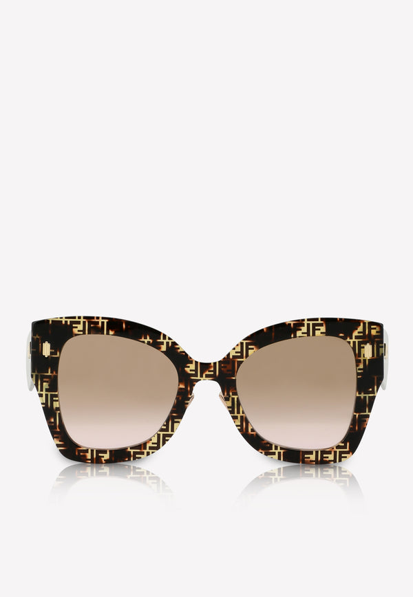 Fendi Havana Butterfly Frame Sunglasses 716736346212BROWN MULTI 1