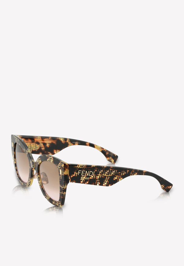 Fendi Havana Butterfly Frame Sunglasses 716736346212BROWN MULTI 2