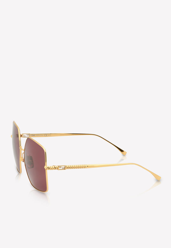 Fendi Baguette Square Frame Sunglasses 716736345949BURGUNDY 2